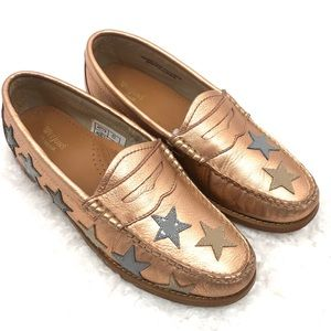 Bass Weejuns Rose Gold Stars Leather Penny Loafers